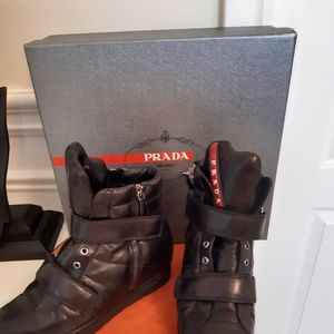 Prada Black Smooth Leather Hidden Wedge Booties